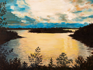 oil painting on canvas - sunset on the lake abstract drawing performed in the style of Impressionism autumn background